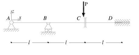 Continuous beam with constrained rotation and release of vertical displacement